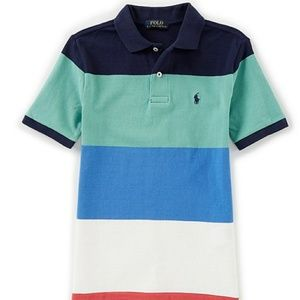 Short-Sleeve Striped Mesh Polo Shirt